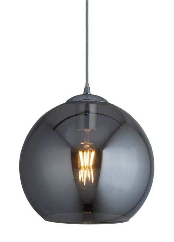 Balls 1 light 25cm round smoked glass ceiling pendant