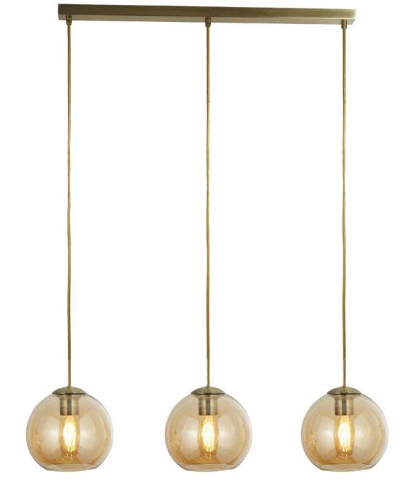 Balls 3 light amber glass ceiling pendant bar in antique brass