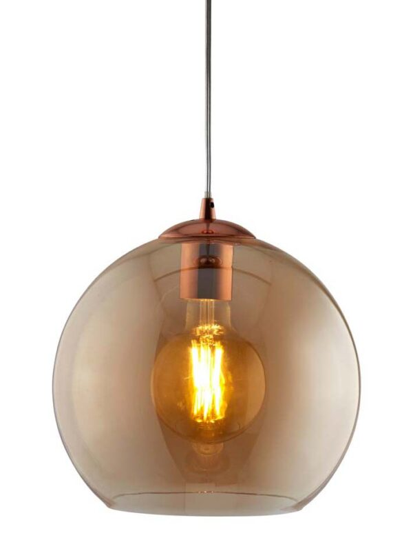 Balls 1 light 30cm round amber glass ceiling pendant