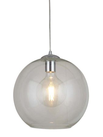 Balls 1 Light 30cm Round Clear Glass Ceiling Pendant Polished Chrome