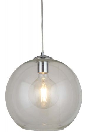 Balls 1 Light 35cm Round Clear Glass Ceiling Pendant Polished Chrome