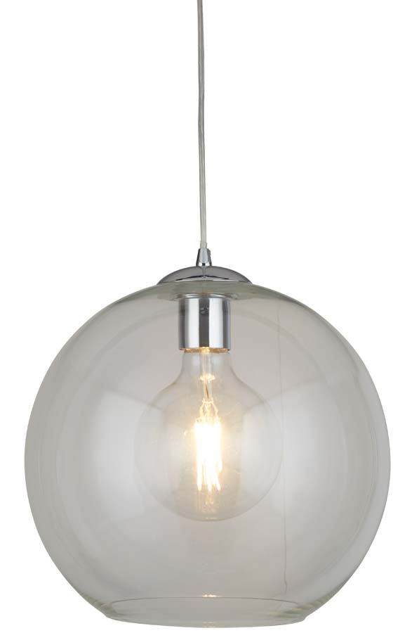 Balls 1 light 35cm round large clear glass ceiling pendant