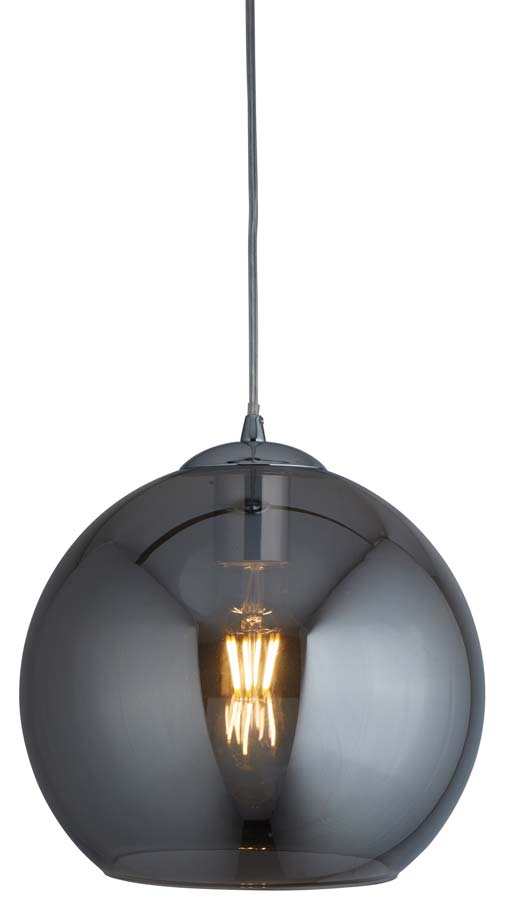Balls 1 light 35cm round large smoked glass ceiling pendant