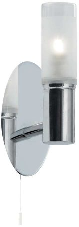 Chrome Modern Bathroom Wall Light Switched IP44 Rated