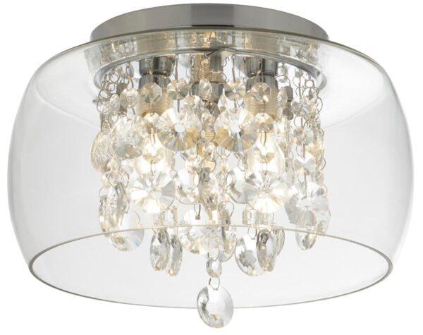 Curva 3 Light Flush Bathroom Ceiling Light Chrome Crystal IP44