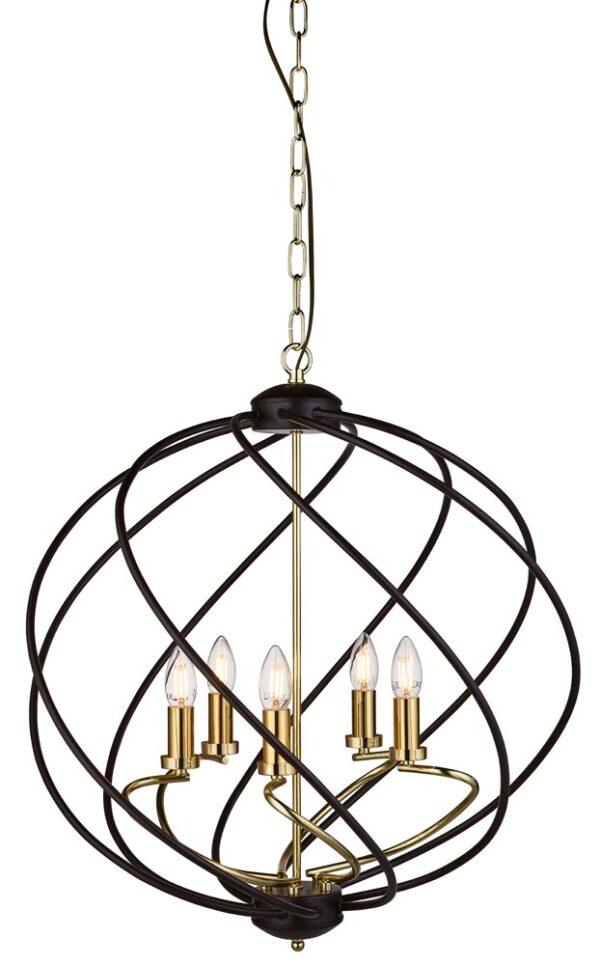 Flow 5 Light Ceiling Pendant Light Matt Black & Bright Gold