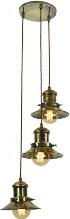 Small Edison Period 3 Light Multi Level Pendant Antique Brass