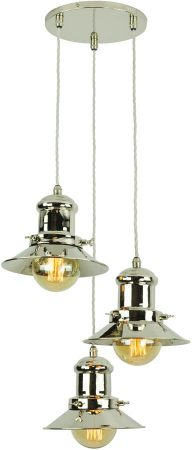 Small Edison Period 3 Light Multi Level Pendant Polished Nickel