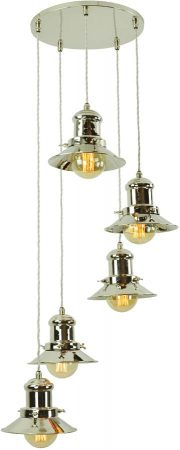 Small Edison Period 5 Light Multi Level Pendant Nickel