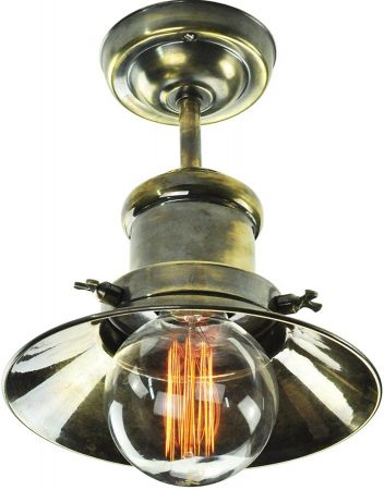 Small Edison Period Flush Ceiling Light Antique Brass