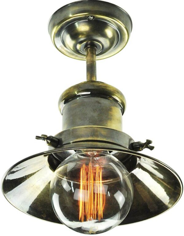 Small Edison Period Flush Ceiling Light Solid Antique Brass Made In UK