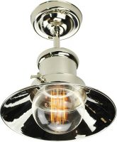 Small Edison Period Flush Ceiling Light Polished Nickel