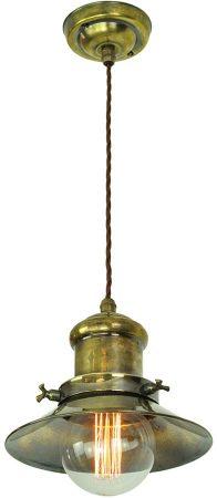 Small Edison Replica Period Pendant Light Antique Brass