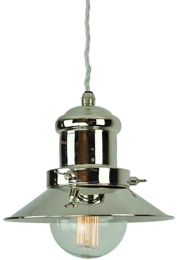 Small Edison Period Pendant Light Polished Nickel 1900 1 P N