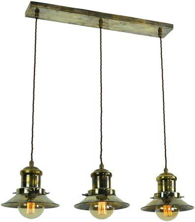 Small Edison Replica Period 3 Light Pendant Antique Brass