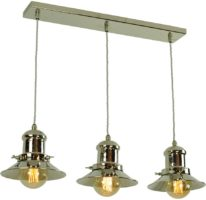 Small Edison Period 3 Light Pendant Polished Nickel