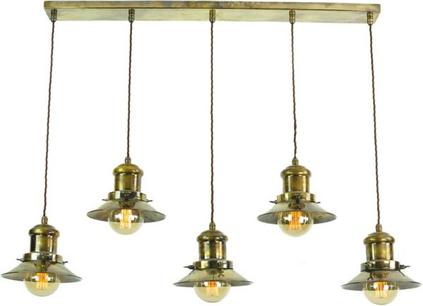 Small Edison Replica Period 5 Light Pendant Antique Brass