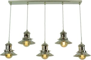 Small Edison Replica Period 5 Light Pendant Polished Nickel