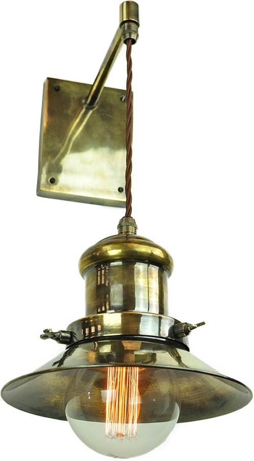Small Edison Period Hanging Wall Light Antique Brass 1900