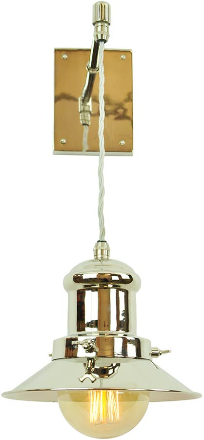 Small Edison Period Hanging Wall Light Polished Nickel