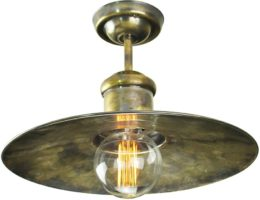Large Edison Period Flush Ceiling Light Antique Brass