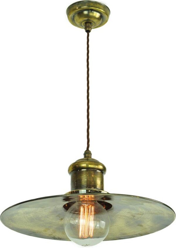 Large Edison Single Period Pendant Light Solid Antique Brass Made In UK