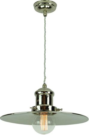 Large Edison Replica Period Pendant Light Polished Nickel