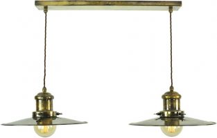 Large Edison Replica Period 2 Light Pendant Antique Brass