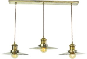 Large Edison Replica Period 3 Light Pendant Antique Brass