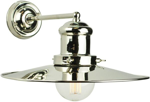 Edison Large Vintage Industrial 1 Lamp Wall Light Nickel Plate Solid Brass