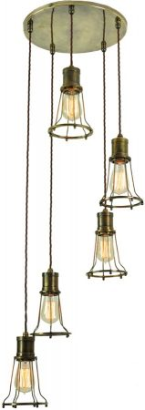 Marconi 5 Light Multi Level Cage Pendant Antique Brass
