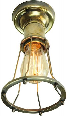 Marconi Period Flush Cage Ceiling Light Antique Brass
