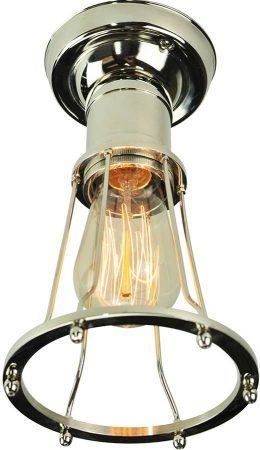 Marconi Period Flush Cage Ceiling Light Polished Nickel