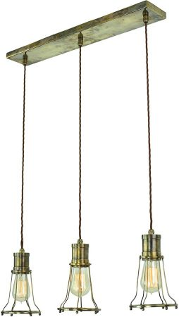 Marconi Replica Period 3 Light Cage Pendant Antique Brass
