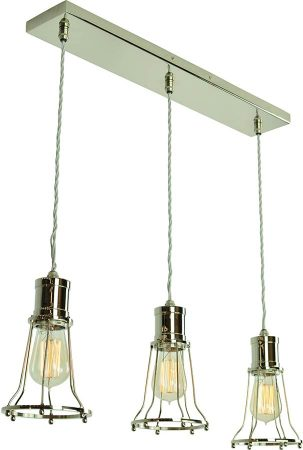 Marconi Period 3 Light Cage Pendant Polished Nickel