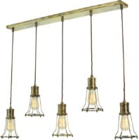 Marconi Replica Period 5 Light Cage Pendant Antique Brass