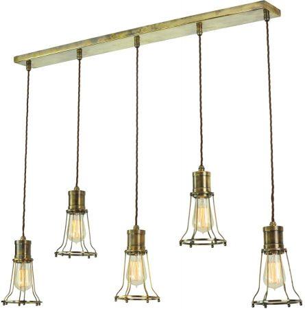 Marconi Replica Period 5 Light Cage Pendant Antique Brass
