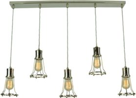 Marconi Replica Period 5 Light Cage Pendant Polished Nickel