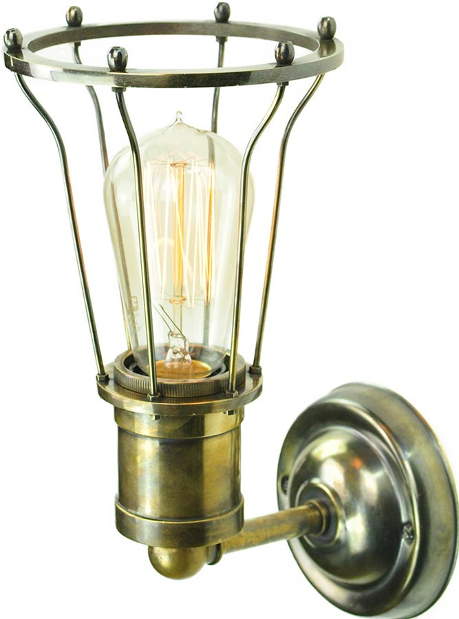 Marconi Period 1 Lamp Cage Wall Light Antique Brass 1900-3-W-AB