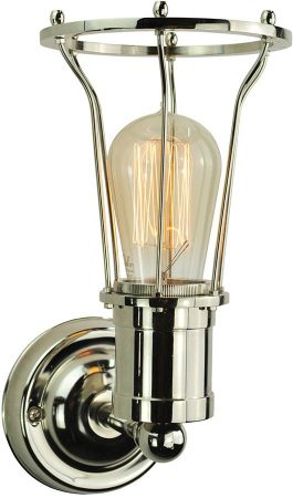 Marconi Period 1 Lamp Cage Wall Light Polished Nickel