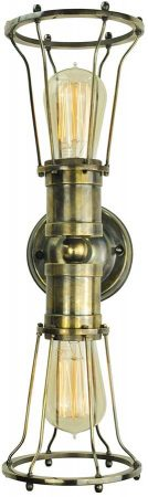 Marconi Period 2 Lamp Cage Wall Light Antique Brass