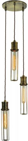 Alexander Period 3 Light Multi Level Cage Pendant Brass