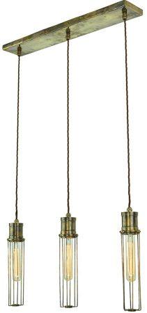 Alexander 3 Light Tube Cage Pendant Antique Brass