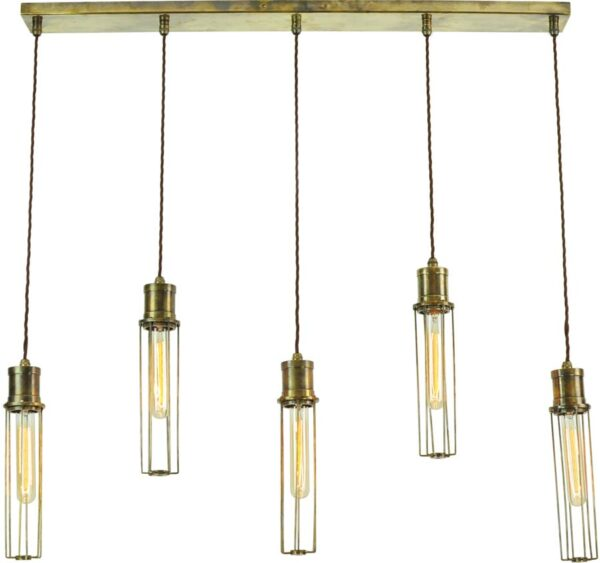 Alexander Period 5 Light Tube Cage Pendant Antique Brass