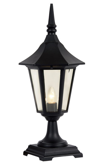 Cardinal Traditional Black Outdoor Pedestal Lantern