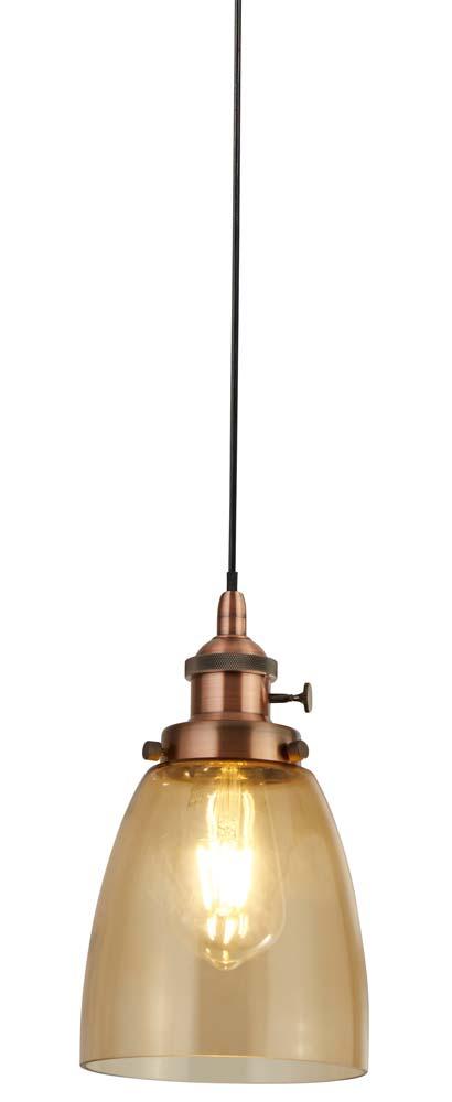 Island 1 Light Pendant Ceiling Light Amber Glass Copper