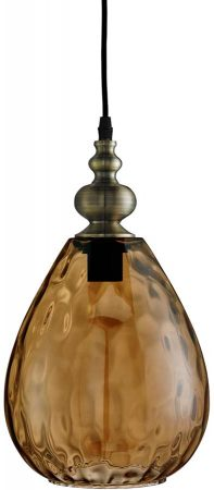Indiana Dimpled Amber Glass Teardrop Pendant Light Antique Brass