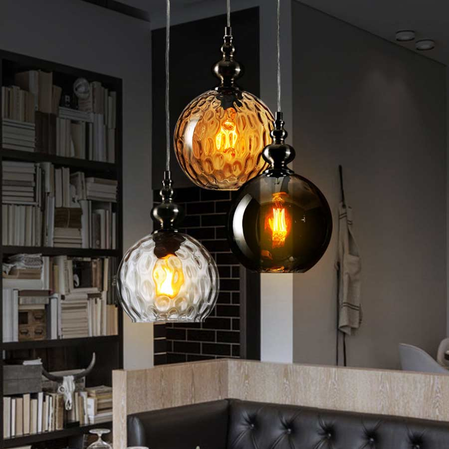 Indiana Dimpled Amber Glass Pendant Light Antique Brass 2020AM
