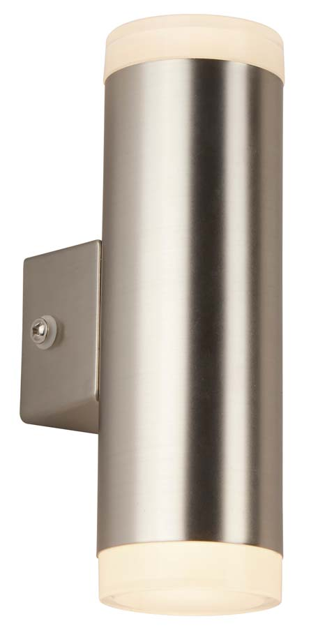 LED 2 light outdoor and porch wall light satin nickel