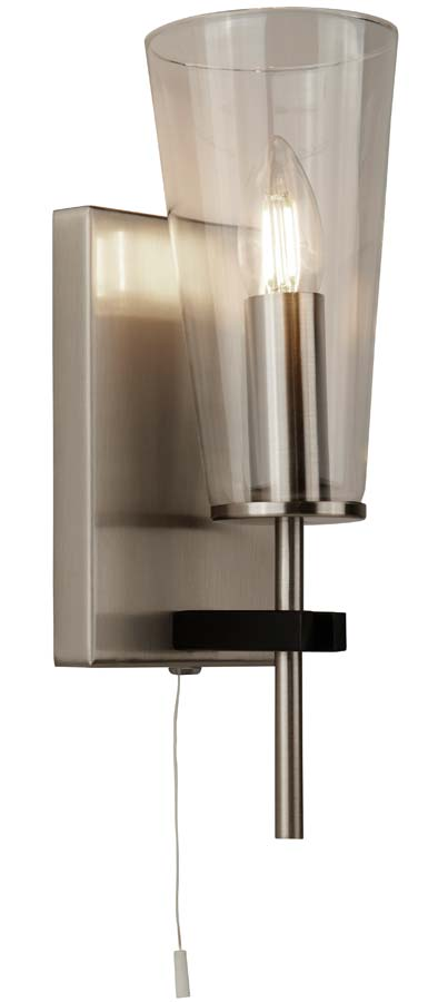 Danika 1 light switched wall light in satin silver & black